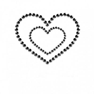 Bijoux Indiscrets Mimi Heart - ozdoby na bradavky - černá