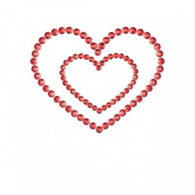 Bijoux Indiscrets Mimi Heart - ozdoby na bradavky - červená