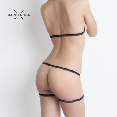 Happy Lola Minimalistické kalhotky a podprsenka - černá