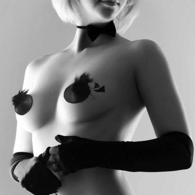 Burlesque pasties - ozdoby na bradavky peříčka - černá