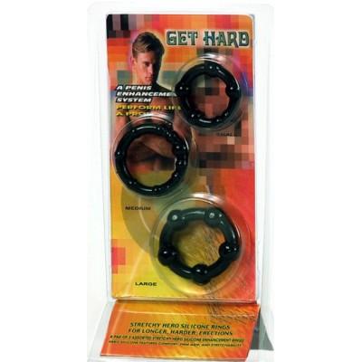 Kroužky na penis STAY HARD černé SADA 3ks